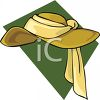 Woman's Floppy Hat with a Scarf clipart