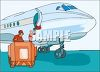Baggage Handlers Loading Luggage on a Plane clipart