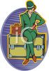 Woman Sitting on a SteamerTrunk, Waiting to Be Picked Up clipart