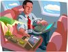 Businessman Working on a Plane clipart