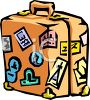 Suitcase Covered with Travel Stickers clipart