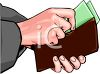 Hands Putting Money in a Wallet clipart
