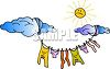 Laundry Drying on a Clothesline clipart