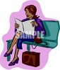 Woman Sitting on a Bench clipart