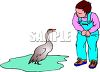 Boy Looking at a Duck in a Puddle clipart