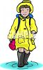 Girl, Wearing a Rain Slicker, Walking Through a Puddle clipart