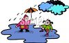 Kids Playing in a Huge Puddle on a Rainy Day clipart