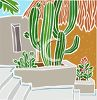 Large Cactus Growing on a Patio clipart