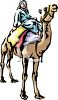 Man Seated Atop His Camel clipart