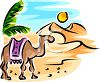 Camel Walking in the Desert Under the Sun clipart