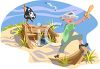 Boy Playing Pirate on the Beach clipart