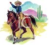 Caballero on His Horse in the Desert clipart