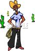 Cowgirl Standing in the Desert clipart