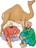 Two Men, Wearing Turbans, Sitting By a Camel clipart