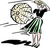 Woman Holding an Umbrella in a Strong Wind clipart
