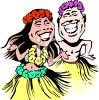 Man and Woman Hula Dancers clipart
