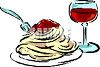 Plate of Spaghetti and Wine clipart