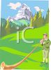 Man Playing an Alphorn in the Mountains of Switzerland clipart