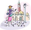Woman Feeding Pigeons clipart