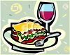 Lasagna and Wine clipart