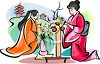 Japanese Women Creating Flower Arrangements clipart