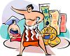 Sumo Wrestler Practicing clipart