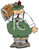 Cartoon of a Fat Guy, Dressed in Lederhosen, Carrying a Keg of Beer clipart