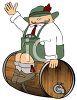 Fat Guy, Wearing Lederhosen, Sitting on a Beer Keg clipart
