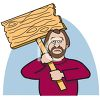 Cartoon of a Man Holding a Picket Sign clipart