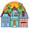 Cartoon of Quaint Shops clipart