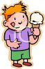 Happy Little Boy Holding a Vanilla Cone clipart