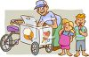 Old Fashioned Ice Cream Man  clipart