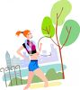 Young Woman Jogging in the Park clipart