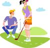 Young People Playing Golf clipart