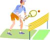 Young Man Playing Tennis clipart