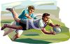 Young Men Playing Rugby clipart
