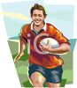 Rugby Player Running With the Ball clipart