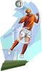 Soccer Player Hitting the Ball with His Head clipart