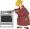 Woman in Her Bathrobe Cooking Eggs clipart