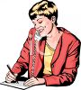 Woman Taking a Telephone Message clipart