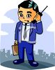Cartoon of a Businessman Using His Cell Phone clipart