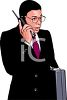African American Businessman Talking on a Mobile Phone clipart