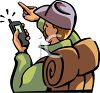 Hiker Using a GPS Device clipart