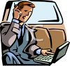 Businessman Riding in a Limo, Working clipart