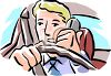 Man Talking on the Phone While Driving clipart