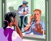 Woman Visiting a Man In Jail clipart