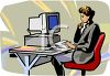 Woman Working on a Computer clipart