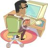 Man Sitting at His Desk, Working on His Computer clipart