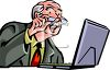 Old Man Reading Email clipart