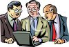 Group of Businessmen Looking at a Computer Screen clipart
